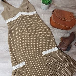 Signature by Robbie Bee green tan polka dot dress